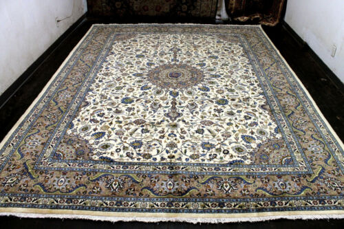 10X13 1960's EXQUISITE HAND KNOTTED 200+KPSI VEGETABLE DYE KASHANN ORIENTAL RUG