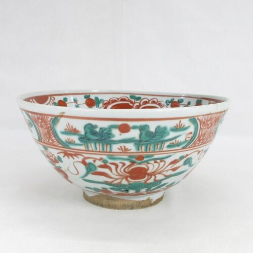 D0256: Real Chinese old colored porcelain ware bowl of traditional GOSU-AKAE