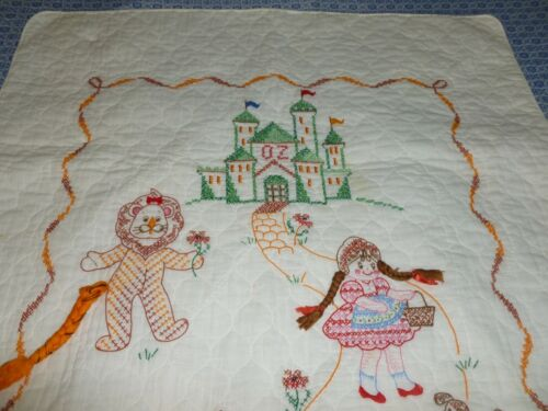 Simply Adorable Wizard of Oz Baby Quilt Antique Vintage Hand Embroidery Crib