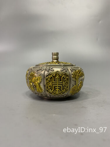 """3.6""""China antique Old cupronickel Seiko relief Gilt Peoplepattern incense burner"""
