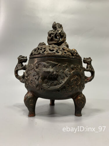 """7.2""""China antique Old cupronickel Seiko relief Hollow beast cover incense burner"""