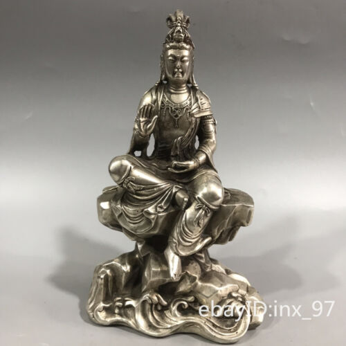 """7"""" China antique Old cupronickel Seiko carving Clear lines Guanyin Buddha Statue"""