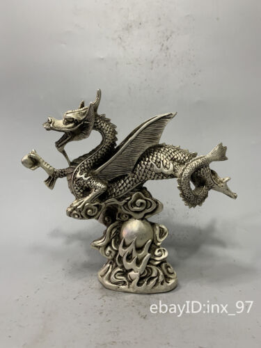 """8.4""""China antique Old cupronickel Seiko carving Clear lines Flying dragon statue"""