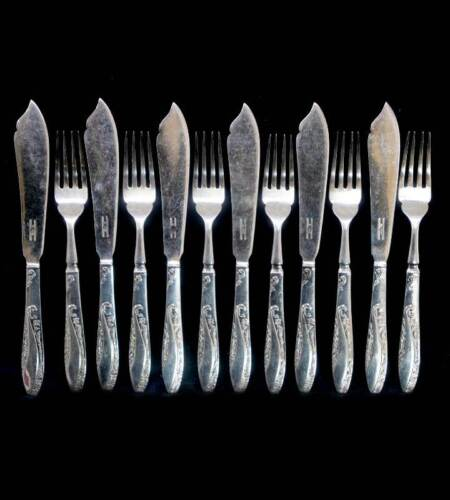 Vintage STANLEY ROGERS IRENE EPNS silver plated 6 person 12 piece fish set
