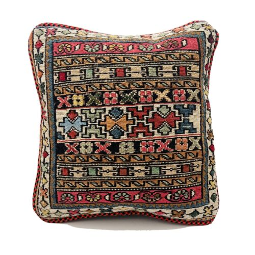 Authentic Kilim Rug Vintage Hand Made Throw Pillow Case Cover AF15