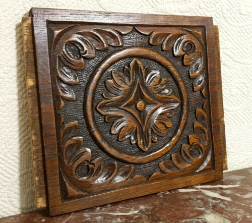 Flower rosette scroll leaves carving panel Antique french architectural salvage