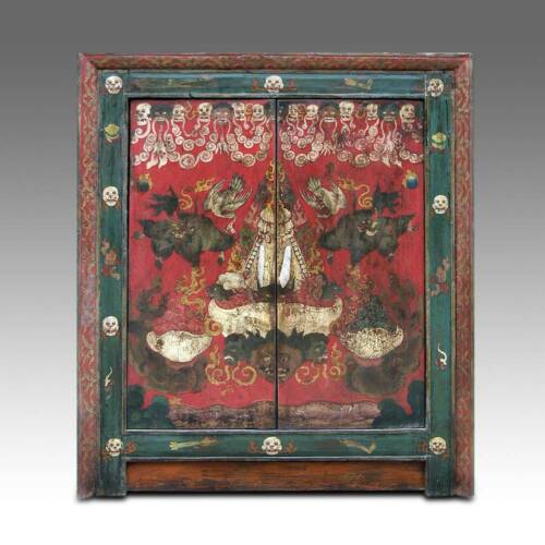 ANTIQUE SHRINE CABINET POLYCHROMED WOOD TIBET CHINESE FURNITURE 18TH /19TH C.