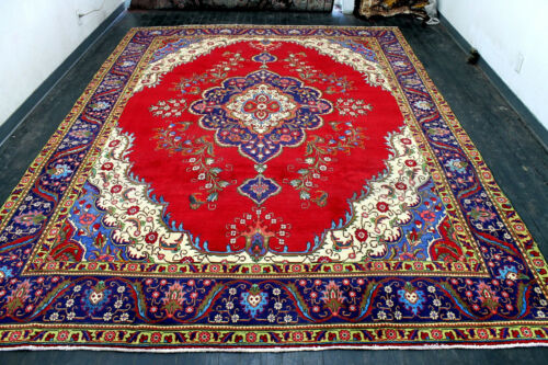 10X13 FINE ANTIQUE HAND KNOTTED VEGETABLE DYE ROYAL TABRIZZ ORIENTAL WOOL RUG