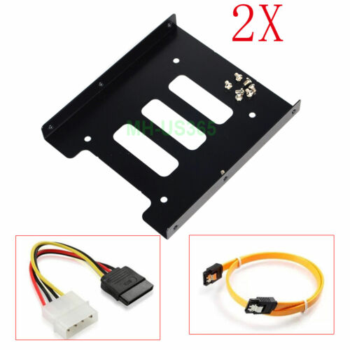 """2X 2.5"""" to 3.5"""" SSD HDD Hard Drive Mounting Bracket Adapter Bay Caddy W/ Cable"""