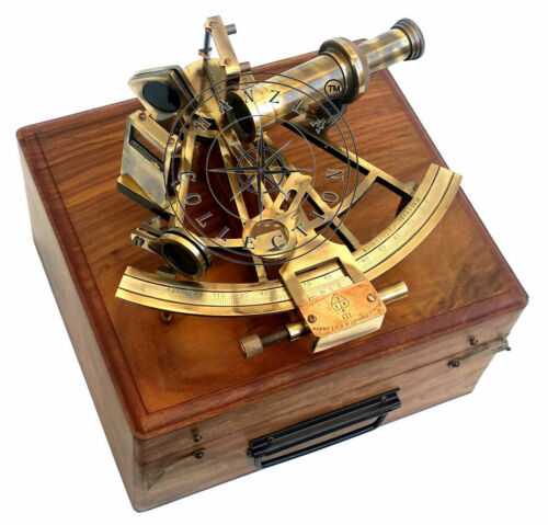 Collectible Marine Antique Handmade SEXTANT 8 Inch Brass With Brown Wooden Box
