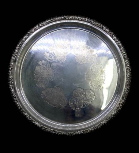 Vintage Hecworth silver plated EPNS ornate edged etched round serving tray