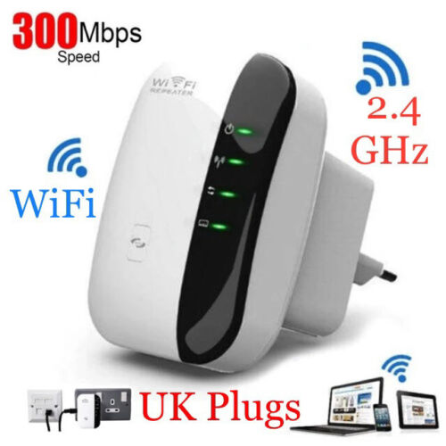 Wireless WIFI Signal Booster Repeater 300Mbps High Speed Router Extender UK Plug <br/> Premium Quality & Signal Extender Booster