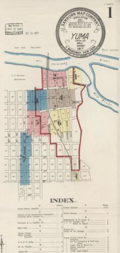 Yuma, Arizona, Sanborn Map© sheets with 20 maps on a CD PDF format~ 1893 to 1917