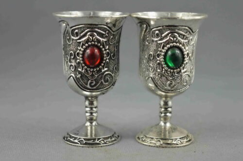 china collectible decoration old miao silver carve flower inlay agate wine cup