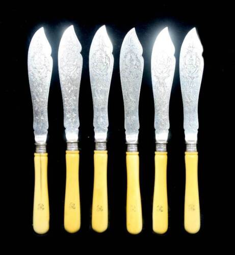 Antique Roberts Smith & Co early 1800s set 6 cow bone-handled ornate fish knives