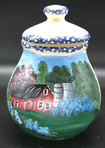 Ceramic container w/hand painted summer barn scene (2021080928)