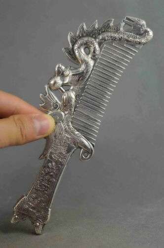 Collectibles Decorated Handwork Miao Silver Carving Dragon Phoenix Noble Comb