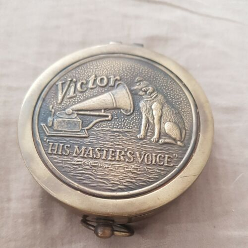 """Collectible Brass Victor """"HIS MASTER'S VOICE"""" Compass 3 Inch Vintage Style"""