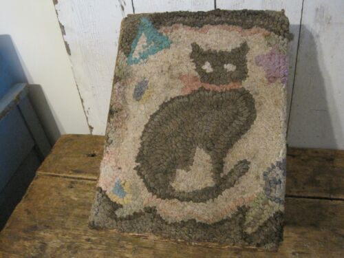 Old Primitive Hand Hooked Cat Rug Covering a Real Log Cabin Stool New England