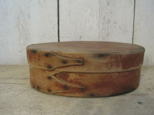 Circa 1830-40 SHAKER Original Red Paint Oval Pantry Box with Fingers Maine N.H.