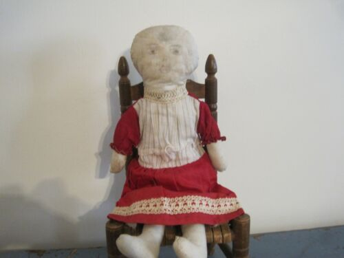Old Primitive White Cloth Fabric Rag Doll She was Found in New England AAFA