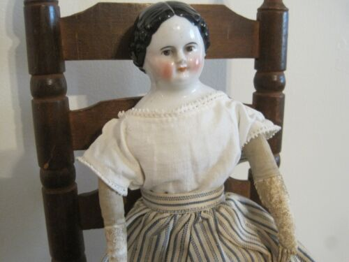 Old China Head Doll Leather Arms with Stitched Fingers New England Find AAFA