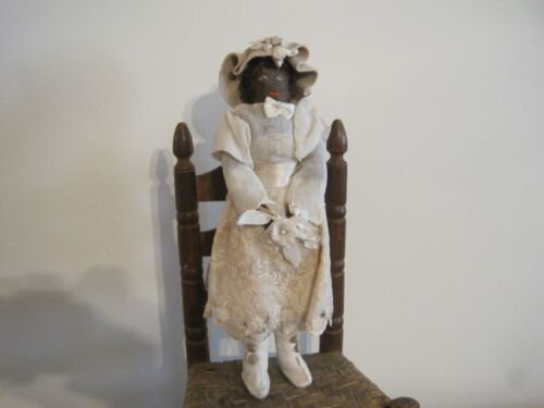 Old Primitive Black Cloth Rag Doll Dressed Up White Leather Boots New England