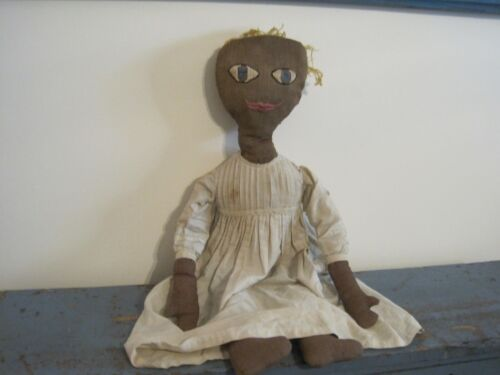 """Old Primitive 27"""" Tall Black Cloth Fabric Rag Doll with Stitched Thumbs AAFA"""