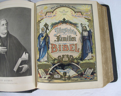 1904 Antique GERMAN FAMILY BIBLE HEILIGE SCHRIFT AJ HOLMAN Leather Bound yqz <br/> Martin Luther UNUSED Genealogy 16 Photo Slots in Back