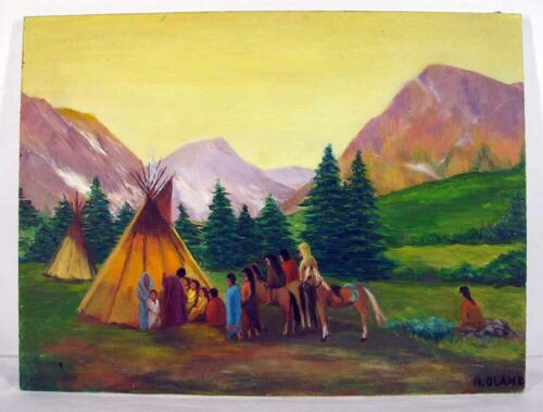 Vintage Original Oil Canvas Native American Indian Painting Teepee Meeting yqz <br/> Signed H. OLAND Primitive Naive Painting
