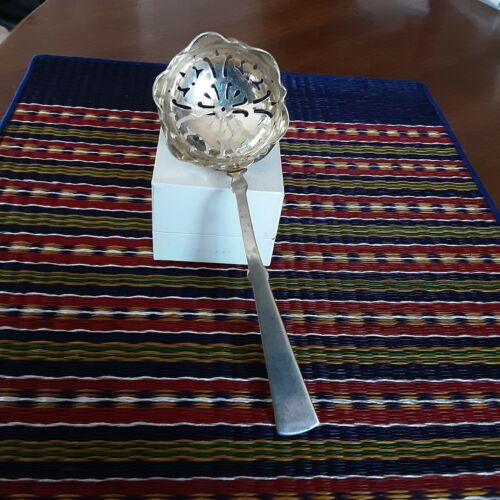 Antique Epns Victorian Sugar Spoon Sifter exquisite fancy border collectable