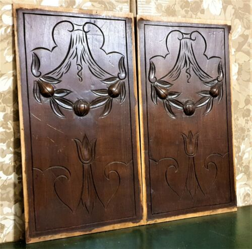 Decorative Flower fruit wood carving panel Antique french architectural salvage