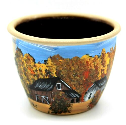 Small ceramic bowl with hand painted fall barn scene (2021090111)