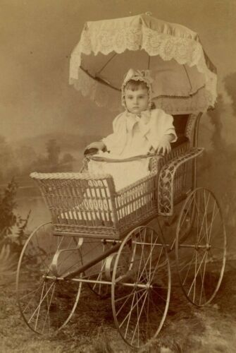 Cabinet Card Photo by Blissenbach Mankato, MN Baby in Wonderful Carriage B6