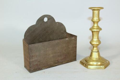 A RARE 19TH C TIN HANGING CANDLE BOX SCROLLED CREST ALL IN ORIGINAL OLD SURFACE
