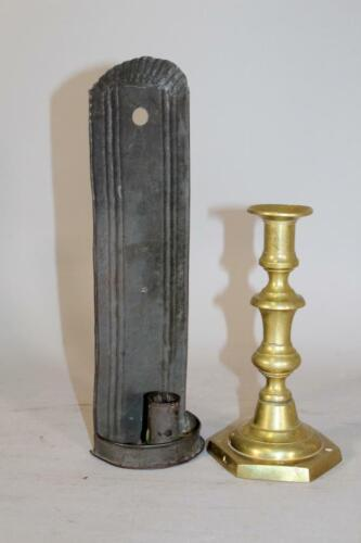 A NICE EARLY 19TH C TIN CANDLE SCONCE ORIGINAL OLD SURFACE DIMINUTIVE SMALL SIZE