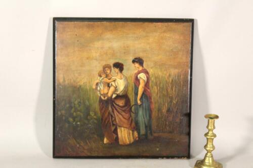 GREAT LATE 18TH C OIL/WOOD PAINTING OF 3 WOMEN WITH A PUTTO IN OLD MASTER STYLE