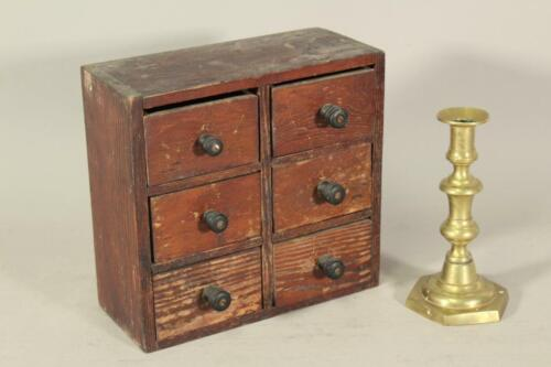 A GREAT 19TH C PINE 6 DRAWER APOTHECARY OR SPICE CHEST IN ORIGINAL RED PAINT