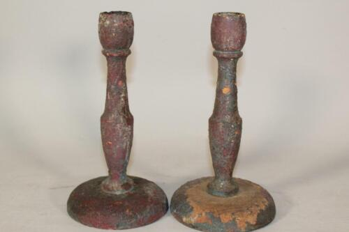 RARE PAIR 18TH C WOODEN CANDLESTICKS IN GRUNGY OLD RED OVER ORIGINAL BLUE PAINT