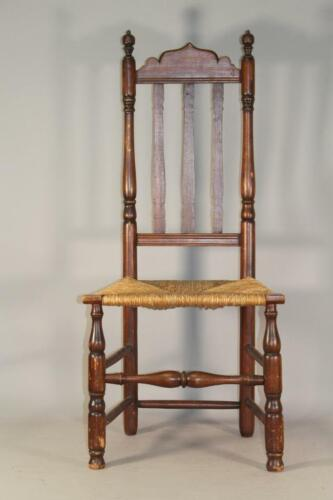 RARE EARLY 18TH C DEERFIELD MA BANNISTER BACK CHAIR IN GREAT CONDITION RUSH SEAT