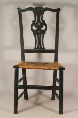 RARE 18TH C CT COUNTRY CHIPPENDALE CHAIR HEART CUT OUT SPLAT IN OLD BLACK PAINT