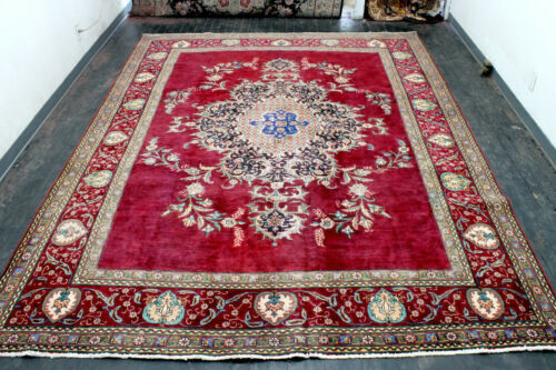 10X13 1930s ANTIQUE HAND KNOTTED VEGETABLE DYE WOOL ROYAL TABRIZZ DISTRESSED RUG