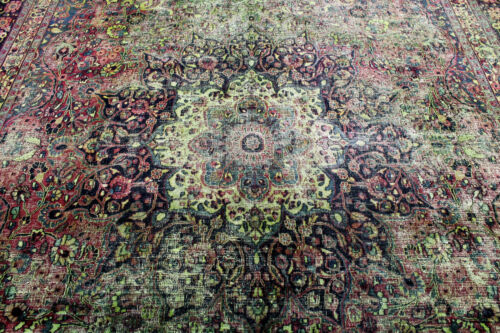 14X11 1880s SIGNED ANTIQUE HAND KNOTED VEGETABLE DYE WOOL KERMANN DISTRESSED RUG