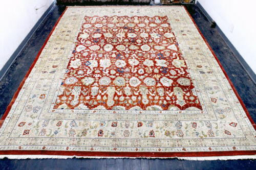 10X14 1960's FINE HAND KNOTTED 200+KPSI VEGETABLE DYE WOOL TABRIZZ ORIENTAL RUG