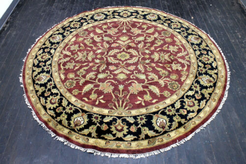 8X8 EXQUISITE HAND KNOTTED VEGETABLE DYE WOOL TABRIZZ MUTED ROUND ORIENTAL RUG
