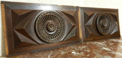 2 Decorative diamond rosette carving panel Antique french architectural salvage