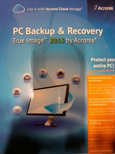 PC Backup & Recovery True Image 2013 by Acronis protect your entire PC Brand New