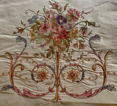 Collectors 19th C French Point de Beauvais Silk Embroidery Morning Glories WW673