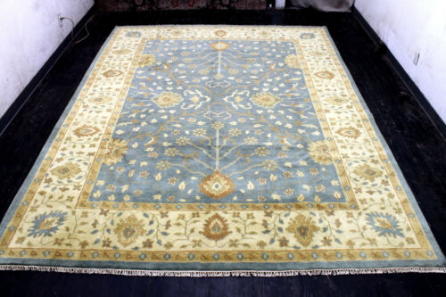 9X12 ELEGANT MINT NEW HAND KNOTTED GOLD COLORS WOOL OUSHAK TURKISH ORIENTAL RUG