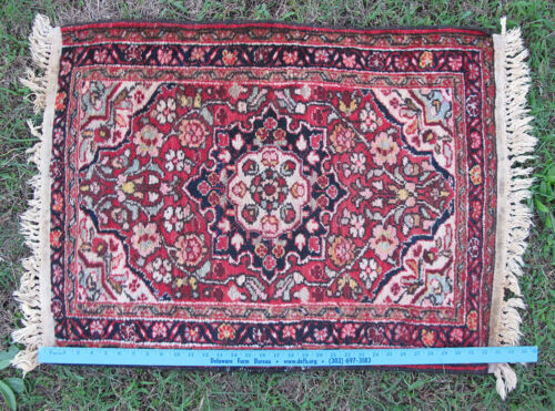 """Tribal Hand Knotted Middle Eastern Heriz Rug 26"""" x 36"""" #10 Shabby Chic Cond yqz"""